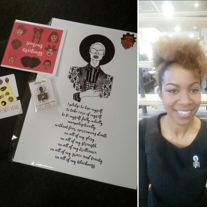 """""""to be myself fully, wholly, unapologetically"""" Pledge pin and artwork by Dorcas Creates"""
